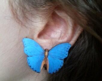 Sky Blue, Butterfly, clip on, earrings, clip on earrings, wood, wooden, butterfly clip on, by NewellsJewels on etsy