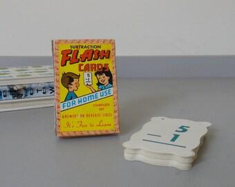 Vintage Boxed Set Subtraction Flash Cards - Built Rite 1950's