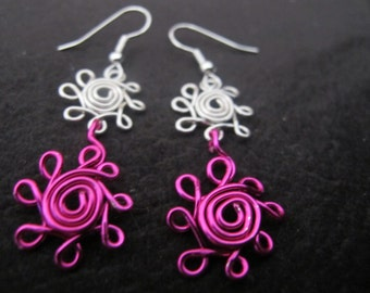 Silver wire wrapped double daisy dangle earrings hot pink and silver