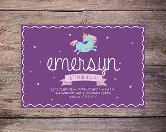 Unicorn Birthday Invitation, Birthday Party Invite, Unicorn Invite, Unicorn Party Invitations, Unicorn Invites –Emersyn