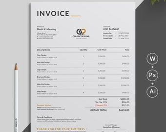 Invoices Etsy - Invoice format word document download online bead stores