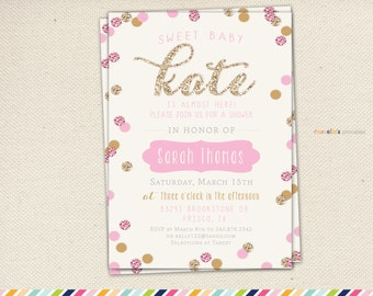 gold and pink girl baby shower invitation gold pink stripes