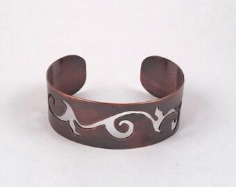 Cuff Bracelet, Copper Bracelet, Wide Cuff, Copper Cuff, Copper Bangle, Boho Bracelet, Rustic Bracelet, Vintage Look Cuff, Copper Jewelry