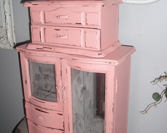 Upcycled PINK 3 tiered Jewelry Box ... JEWELRY CHEST ... Shabby chic Cottage Box