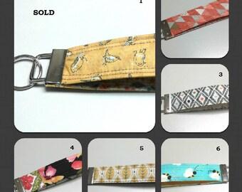 Key fob, key chain, bracelet key chain, keychain, wristlet key chain, wristlet key fob, fabric key fob