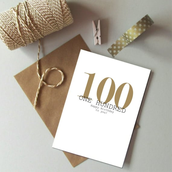 100th birthday card happy 100th birthday hundred birthday like this item bookmarktalkfo Images