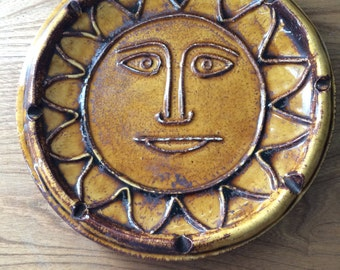 Vintage Mid Century Modern Sun Face Dish/Catchall/Ashtray in Yellow and Brown