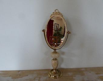 Onyx Pedestal Mirror, Vintage French Dressing Table Mirror, Bedroom Decor 0618015-610