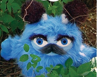 Bruister the Brumblewump - He is not a Monster! Blue, furry stuffed animal with a mustache. Cute children's book character.