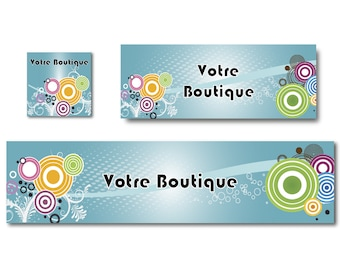Facebook banner and banner Etsy Shop with bright colors, custom banner custom design graphics