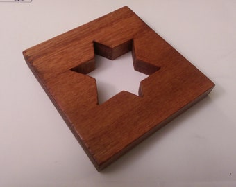 Wooden Star of David (Jewish Star) Coaster