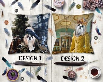 Shih Tzu Dog Pillow/Shih Tzu Portrait/Shih Tzu Art/Shih Tzu Print/Personalized Dog Pillow/Custom Dog Portrait