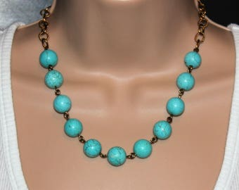 Turquoise Magnesite Necklace - Blue Statement Necklace - Antique Bronze Chain - Gift for Her