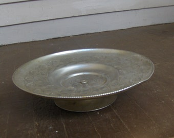 Vintage ART DECO Aluminum Hand Wrought Lazy Susan Metal Tray Cake Dish Swive