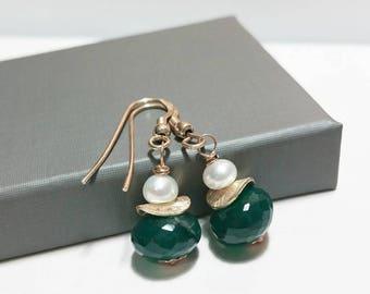 Green Onyx and Pearl Dangle Earrings -Wire Wrapped Dangle Earrings, Sterling Silver, Freshwater Pearl, Gemstone Earrings, Gift Ideas