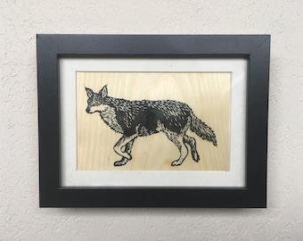 Coywolf Lino Block Print