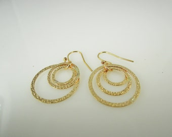 14K Gold Filled-Hammered-Triple Hoop-Earrings-for her