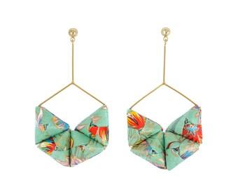 Turquoise, Green, Silver, Gold, Dangle Earrings; Origami Jewelry, Origami Jewellery; Origami; Paper Jewelry; Washi; Statement Earrings