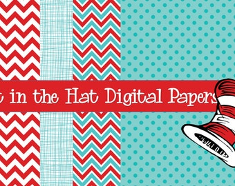 Cat in the Hat Digital Paper