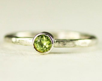 Peridot Stack Ring - Sterling August Birthstone Ring - Custom Band Choices