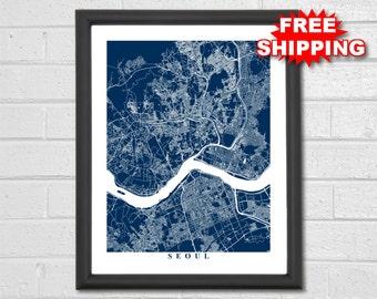 Seoul Map Art - Map Print - South Korea - Map Print - Home Map - Modern - Travel - Anniversary Gift - Custom Map - World Map - Hometown