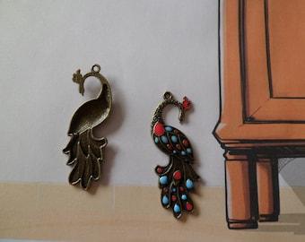 Enameled Peacock pendant