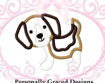 Instant Download Cute Beagle Puppy Dog Animal Applique Embroidery Design 4 Sizes 3in, 4in, 5in, 6in Puppy Applique, Dog Applique Embroidery
