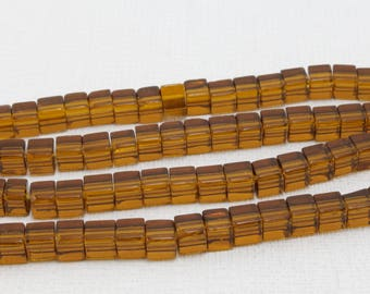 70 clear 4 light brown glass cube beads / 5mm