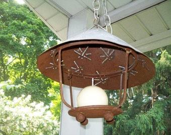 Vintage Candle Holder Tin Punched Dragonfly Rustic Hanging Candleholder Home Garden Decor