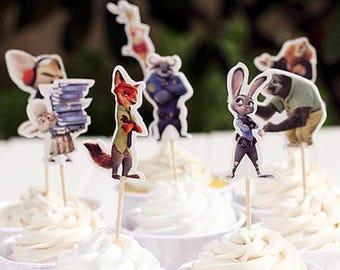 READY To SHIP Zootopia Inspired Cupcake Toppers, Toppers, Picks, Cake Toppers, Cake Topper Pick, Cupcake Picks, Birthday