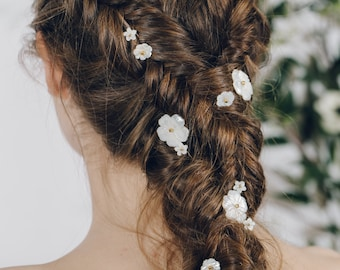 Flower hair pins, floral hair pins, mother of pearl flowers, plait hair pins, hair pins plait set, flower plait set, hair pins set - Minna