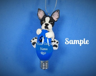 Boston Terrier Dog Black and White OOAK Christmas Light Bulb Ornament Sally's Bits of Clay Personalized FREE with your dog's name