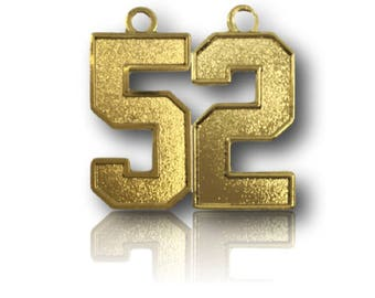 """Number 52 Jersey Style Sports Necklace Charm Pendant (0.8"""" Tall)  GOLD PLATED Football Baseball Basketball Soccer Lacrosse Hockey"""
