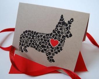 Corgi Christmas Card, Dog Holiday Card, Holiday Icons Card, Single Card, Set of 4 or 8