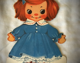 Vintage 1950s Rag Doll Greeting Card, Signed, Redhead, Craft Supply, Paper Craft, Scrapbooking, Doll, Vintage Stationary
