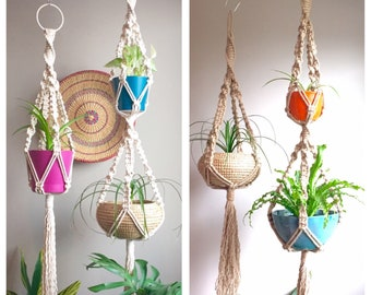 "MIDAS Macramé Plant Hangers//Jute White Black 69"" Double and 45"" Single Thick Retro 70s Matching Large Bohemian Outdoor"