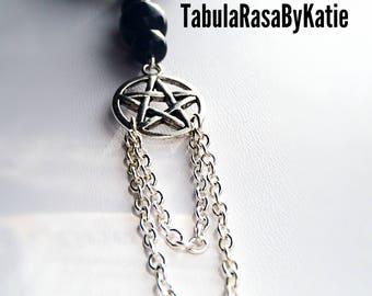 Black Onyx Pentacle Lace Chain Necklace
