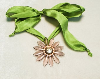 "Glass Flower Silk Necklace Fresh Water Pearl Amethyst Glass Petals Green Silk Ribbon Daisy Flower Pendantl- Series 6 ""Breezy"" - Art Jewelry"