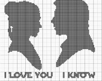 I love you, I know! Silhouette. Cross stitch pattern (digital download). Star wars, Princess Leia Han Solo quote