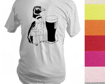 Made to Order Beer Penguin Screen Printed T-Shirt, Men, Unisex, Pick Your Size, Various Colors, Graphic Tee, St. Patrick's Day, Handprinted