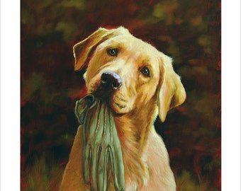Yellow Labrador retriever Limited Edition Print. Personally signed and numbered by Award Winning Artist JOHN SILVER. jsfa022