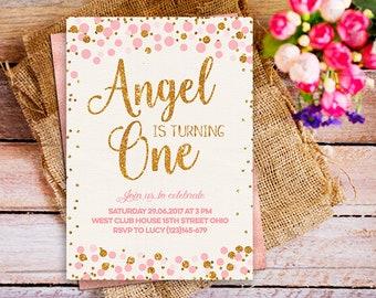 First birthday invitation, 1st Birthday invite, pink gold first birthday confetti invitation girl, pink and gold glitter first birthday