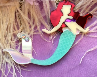 The Little Mermaid Laser Cut Acrylic Necklace, Laser Cut Acrylic, Plastic Jewelry