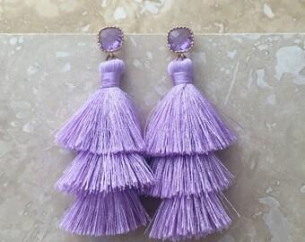 Periwinkle Drop Earrings, Faceted Gemstone Tassel Earrings, Long Silk Tassel Earrings, Lavender, Wedding Earrings, Bridal Earrings, Elegant
