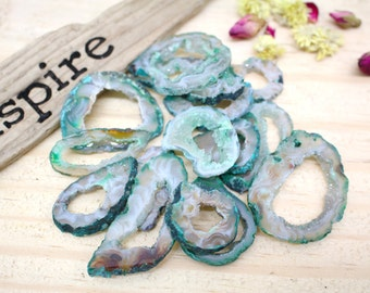 Light Green Geode Slice - Agate Druzy Slice - Jewelry Supplies - Hippie Style (RK84B8)