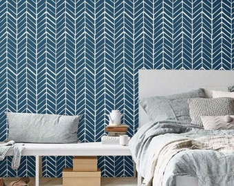 Self adhesive vinyl wallpaper - Chevron pattern print  - 026 WHITE/ NAVY