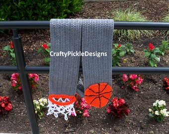 Basketball Scarf Crochet/Gift for dad/Gift for him/Basketball Men's Scarf/Father's Day/Basketball Fun Scarf/