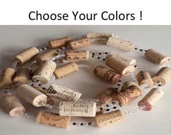 Wine Cork Garland custom, CHOOSE YOUR COLOR,  Wine Cork Crafts,  Wine themed wedding, Team Colors, wine gift