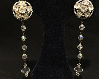 "Clear Crystal 3&1/2"" Drop Clip Earrings - CA 1950's - Item VC152"