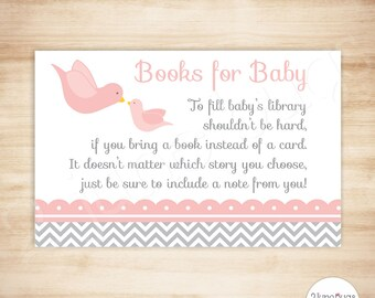 Pink Little Bird Baby Shower Book Request Cards -  Baby Girl Shower - Invitation Insert Card - PRINTABLE, INSTANT DOWNLOAD